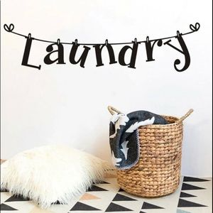 Laundry clothesline wall decor stick decal